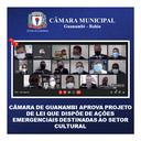 CÂMARA DE GUANAMBI APROVA PROJETO DE LEI QUE DISPÕE DE AÇÕES EMERGENCIAIS DESTINADAS AO SETOR CULTURAL