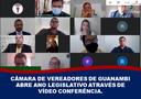CÂMARA DE VEREADORES DE GUANAMBI ABRE ANO LEGISLATIVO ATRAVÉS DE VÍDEOCONFERÊNCIA.