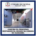 CONFIRA OS PRINCIPAIS DESTAQUES DA SESSÃO DA CÂMARA DE GUANAMBI.