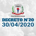 A CÂMARA MUNICIPAL DE GUANAMBI RETOMA AS ATIVIDADES INTERNAS NESTA SEGUNDA-FEIRA, 04 DE ABRIL DE 2020.