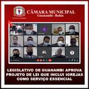 LEGISLATIVO DE GUANAMBI APROVA PROJETO DE LEI QUE INCLUI IGREJAS COMO SERVIÇO ESSENCIAL
