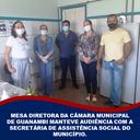 MESA DIRETORA DA CÂMARA MUNICIPAL DE GUANAMBI MANTEVE AUDIÊNCIA COM A SECRETÁRIA DE ASSISTÊNCIA SOCIAL DO MUNICÍPIO.