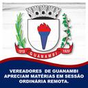 VEREADORES DE GUANAMBI APRECIAM MATÉRIAS EM SESSÃO ORDINÁRIA REMOTA.