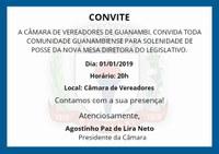 Convite para a posse da nova mesa diretora do legislativo